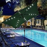 ReaseJoy 3x2m Patio Parasol 6-Rib Aluminium Garden Umbrella Tilt Crank Waterproof with Solar Powered 20 LED Lights Green
