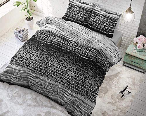 SleepTime Copripiumino Cotone Panther Style, 220cm x 240cm Matrimoniale Matrimoniale, con 2 Funda De Almohada 60cm x 70cm, Anthracite