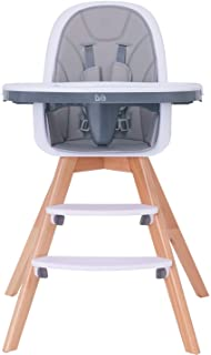 Baby High Chair with Double Removable Tray for Baby/Infants/Toddlers, 3-in-1 Wooden High Chair/Booster/Chair   Grows with ...