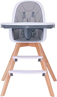 Baby High Chair with Double Removable Tray for Baby/Infants/Toddlers, 3-in-1 Wooden High Chair/Booster/Chair   Grows with Your Child   Adjustable Legs   Modern Wood Design   Easy to Assemble