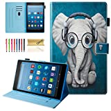 Dteck All-New Fire HD 10 Case (9th/7th Generation, 2019/2017 Release) - Slim Folio Stand Shockproof Cover PU Leather Case with Auto Wake/Sleep Smart Protector for Fire HD 10.1' Tablet, Doctor Elephant