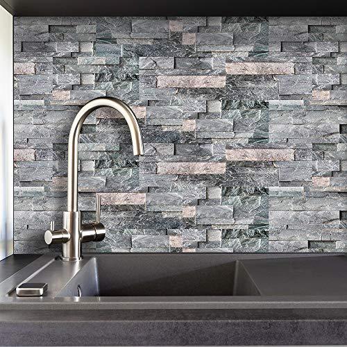LUOWAN Adhesivo adhesivo para azulejos de pared autoadhesivo para azulejos de cocina, bricolaje de vinilo para baño (gris oscuro, 10,2 x 20,3 x 20,3 x 20,3 cm)