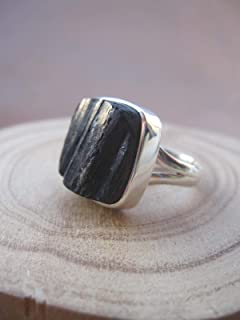 Genuine Raw Black Tourmaline 925 Sterling Silver Stack Ring,Size 9.5 US, RBT10