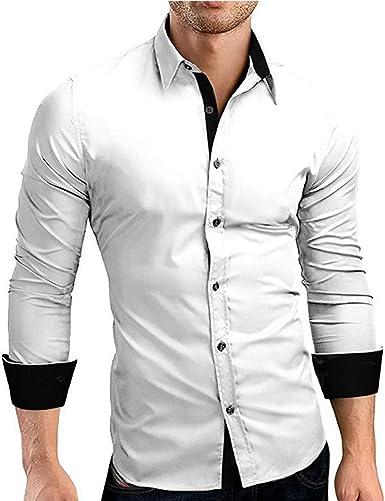 Camisa para Hombre Slim Collar Casual Modernas De Largo Fit ...