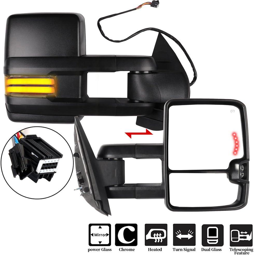 LUJUNTEC Towing Max 76% OFF Mirrors Compatible for 2008-2013 Denver Mall Chevy Silverado
