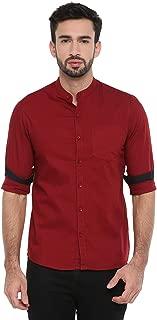 Chennis Mens Causal Shirt(Burgundy)