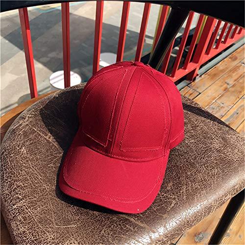 Japonés Retro Simple Color sólido Sombrero de béisbol Hombres y Mujeres Casual Salvaje Viejo Parche paño Gorra Visera 酒 红色 可 调节