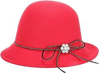Bullidea Women Lady Winter Warm Hat Felt Cloth Soft Basin Cap Elegant Bowknot Design Solid Color Basin Cap for Autumn or Winter(Red)