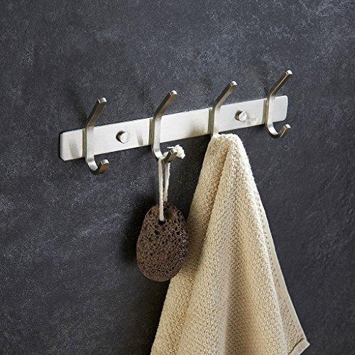 Mellewell Utility Hook Rails Storage Racks 12-Inch with 4 Heavy Duty Hooks, Wall Coat Robe Towel Pan Hook Bathroom Kitchen Organizer, Brushed Stainless Steel, 08002HK04
