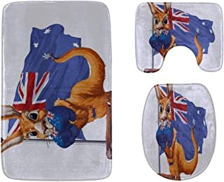 The Brown Carton Kangaroo is Running Bathroom Rug Mats Set 3-Piece,Soft Shower Bath Rugs,Contour Mat and Toilet Seat Lid C...