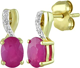 10kt Yellow Gold 6x4mm Oval Burmese Ruby and Round Genuine White Sapphire Fashion Earrings