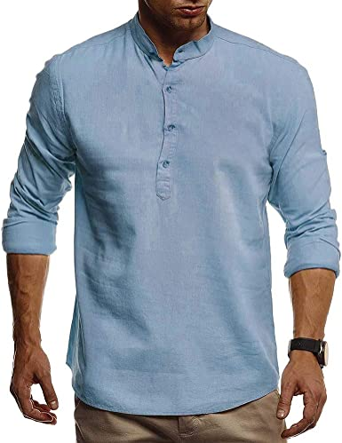 Camisa de lino para hombre sin cuello para abuelo, camiseta de manga larga, casual, ligera, con botones, para trabajo, sala de estar
