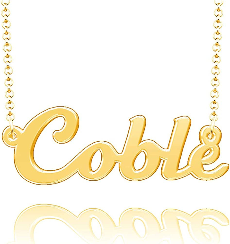 LoEnMe Jewelry Coble Name Necklace Stainless Steel Plated Custom Made of Last Name Personalized Gift for Family