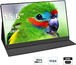 Portable Monitor, 15.6 Inch USB C Monitor 1920×1080 Full HD LCD Gaming Monitor HDR ComputerDisplaywith Type-C Mini HDMI DP for Laptop PC Phone MAC Xbox PS4Mountable Monitor with VESA Holes (Black)