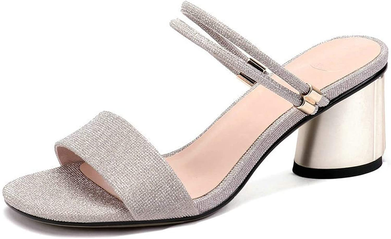 Women Sandals Cow Leather +Pu Elegant Square High Heel Round Toe Slingback Slip
