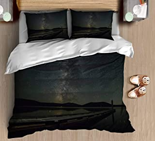 Abstract Unique Printed King Size Bedding Set Burst of Milkyway Vintage Pattern Duvet Cover Sets with Pillowcase