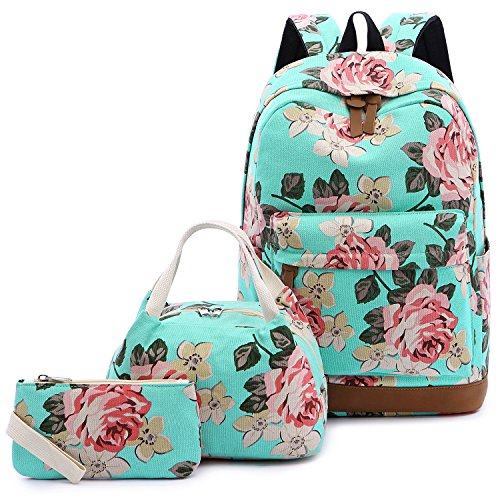 Abshoo Floral Backpacks For Girls Canvas School Bookbags Teen Girls Backpacks With Lunch Bag (Floral Lake Blue)
