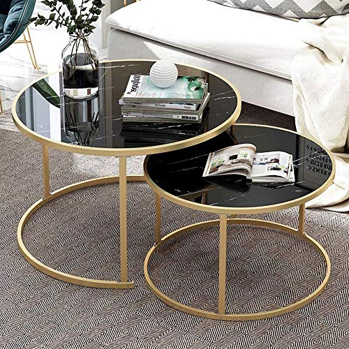 QIHANG-UK Nesting Coffee Tables Black Living Room Table Sets, Marble Look Sofa Side Nest of Tables Round End Tables with Matte Mustard Metal Frame Home Decor Sets(Black, Set of 2)