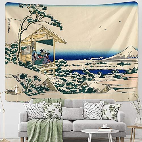 JXWR Tapiz Colgante de Pared de Estilo japonés decoración del hogar nórdico Colgante de Pared Mantel artístico Dormitorio Pintura de Paisaje Tapiz 150x130cm