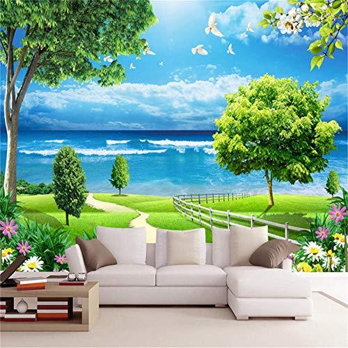 Muurafbeelding achtergrond natuur zee landschap 3D behang woonkamer behang wooncultuur groene boom blauwe hemel vogels bloemen fotobehang, aFcvs57