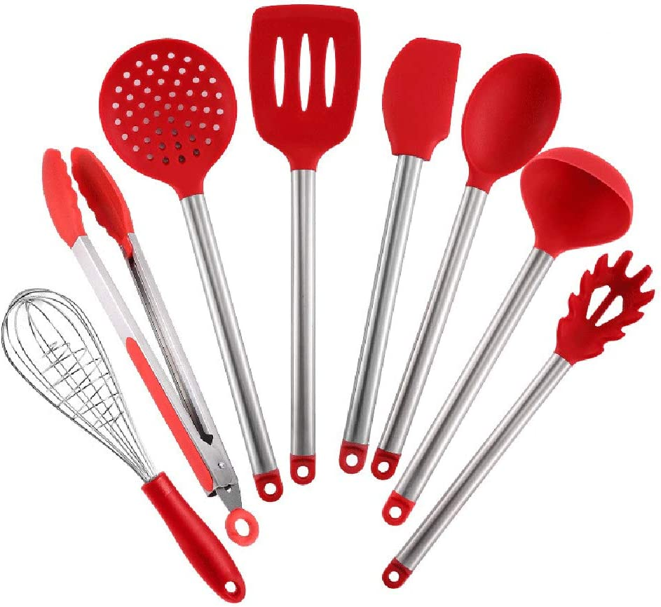 Credence Purchase GWQDJ Kitchen Utensil Set 8 Cooking and Utensils Silicone Stainl
