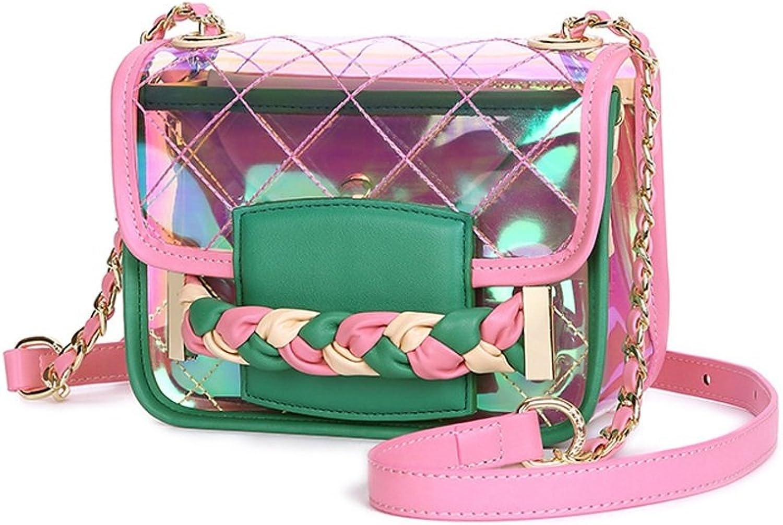 Sturdy Summer New Transparent Shoulder Messenger Portable Small Party Handbag Large Capacity (color   Pink)