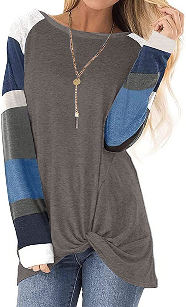 UOCUFY Long Sleeve Tops for Women, Womens Casual Loose Crewneck Long Sleeve T Shirts Tunics Tops Pullover Sweatshirts