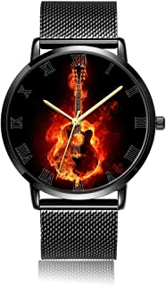 Customized Beautiful Clownfish Wrist Watch, Black Steel Watch Band Black Dial Plate Fashionable Wrist Watch for Women or Men