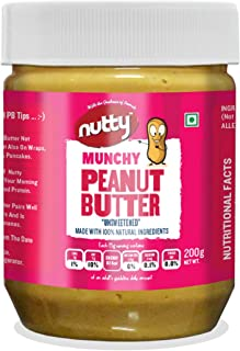 Nutty Crunchy Peanut Butter (Unsweetened) - 200g, 100% Natural, Super Healthy
