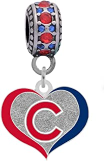 Chicago Cubs Swirl Heart Charm Fits Most Bracelet Lines Including Pandora, Chamilia, Troll, Biagi, Zable, Kera, Personality, Reflections, Silverado and More …