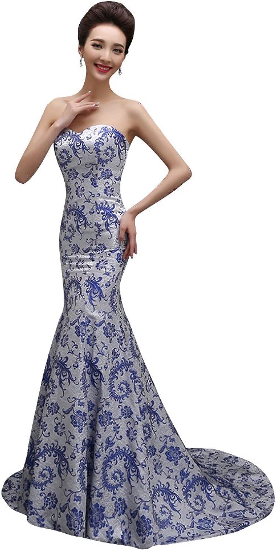 BeautyEmily Sweep Train Strapless Matte Satin Embroidery Mermaid Dress