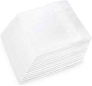 دستمال کاغذی پنبه ای، Ohuhu 13 بسته 100٪ خالص پنبه سفید کیف دستی جیبی Hankies / پاکتیو دستمال کاغذی برای مردان روز پدر پدر و مادر هدایا