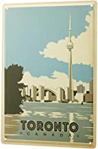 Stereo Metal Wallboard - Globetrotter Toronto Canada Skyline River Cn Tower World's Highest Tower - Nostalgic Tin Sign Retro Tin Wall Metal Wall Plate Bar Poster Signs 11.8 x 7.8 inch