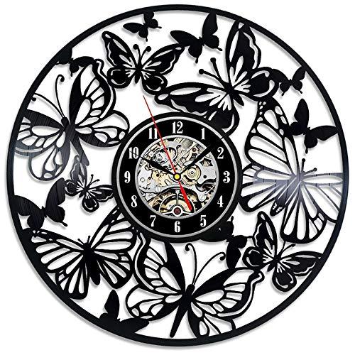 SKYTY Vinyl Music Record Wall Clock-Handmade Vintage Silhouette Butterfly Vinyl Clock Interior Decor Art Clock-With Led Light