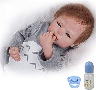 comprar comparacion ZIYIUI Realista Muñeca bebé Reborn 55 cm Recién Nacido Suave Silicona Vinilo Realista Niño y Ropa Gris Hecha a Mano