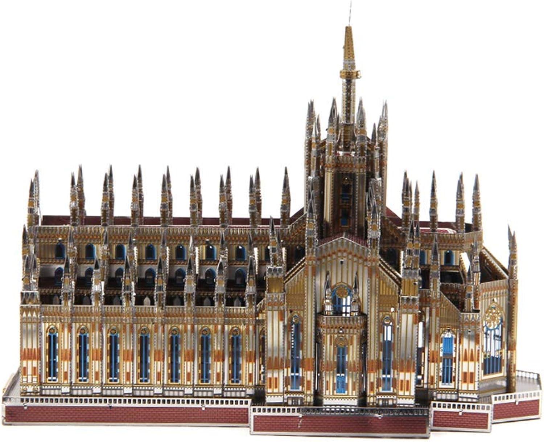 Más asequible MQKZ MQKZ MQKZ Rompecabezas de Metal Tridimensional 3D   Catedral de Milán Modelo arquitectónico montado a Mano Juguetes educativos para Niños gris + Herramienta A + B Talla única  ventas en linea