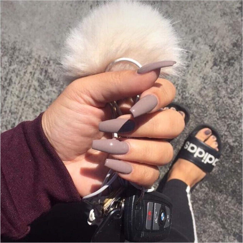 カビ発症乳XUTXZKA グレーの純粋な色の偽の爪の女性の完全な爪のヒントの花嫁の偽の爪