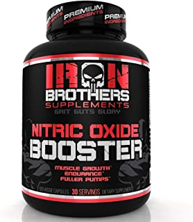Nitric Oxide Supplements Booster Pre Workout with Fermented L-Arginine Increase Muscle Pumps Blood Flow Energy Strength Endurance Vascularity - 120 Veggie Capsules L-Citrulline