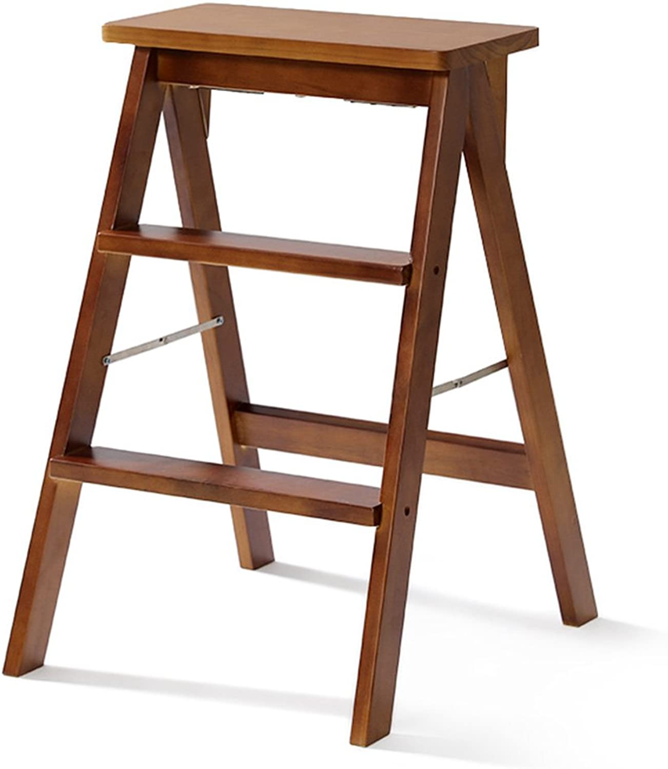 BLRYP Non-slip step stool Household Solid Wood Step Stool 3 Steps Ladder Stool,Modern Portable Folding Chair Stool With Tread Safety Non-Slip Multi-function Kitchen High Stool Bench,402064cm Slip re