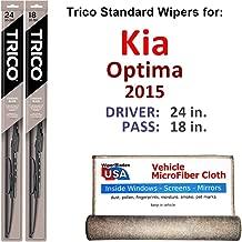 Wiper Blades for 2015 Kia Optima Driver & Passenger Trico Steel Wipers Set of 2 Bundled with Bonus MicroFiber Interior Car Cloth