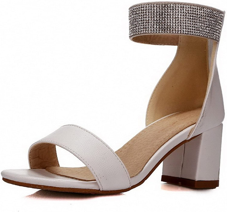 WeenFashion Women's Solid PU Kitten-Heels Open Toe Zipper Sandals