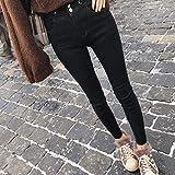 Jeans Estilo Casual Pantalones De Lápiz Térmicos para Mujer Pantalones Vaqueros Negros Ajustados De Cintura...