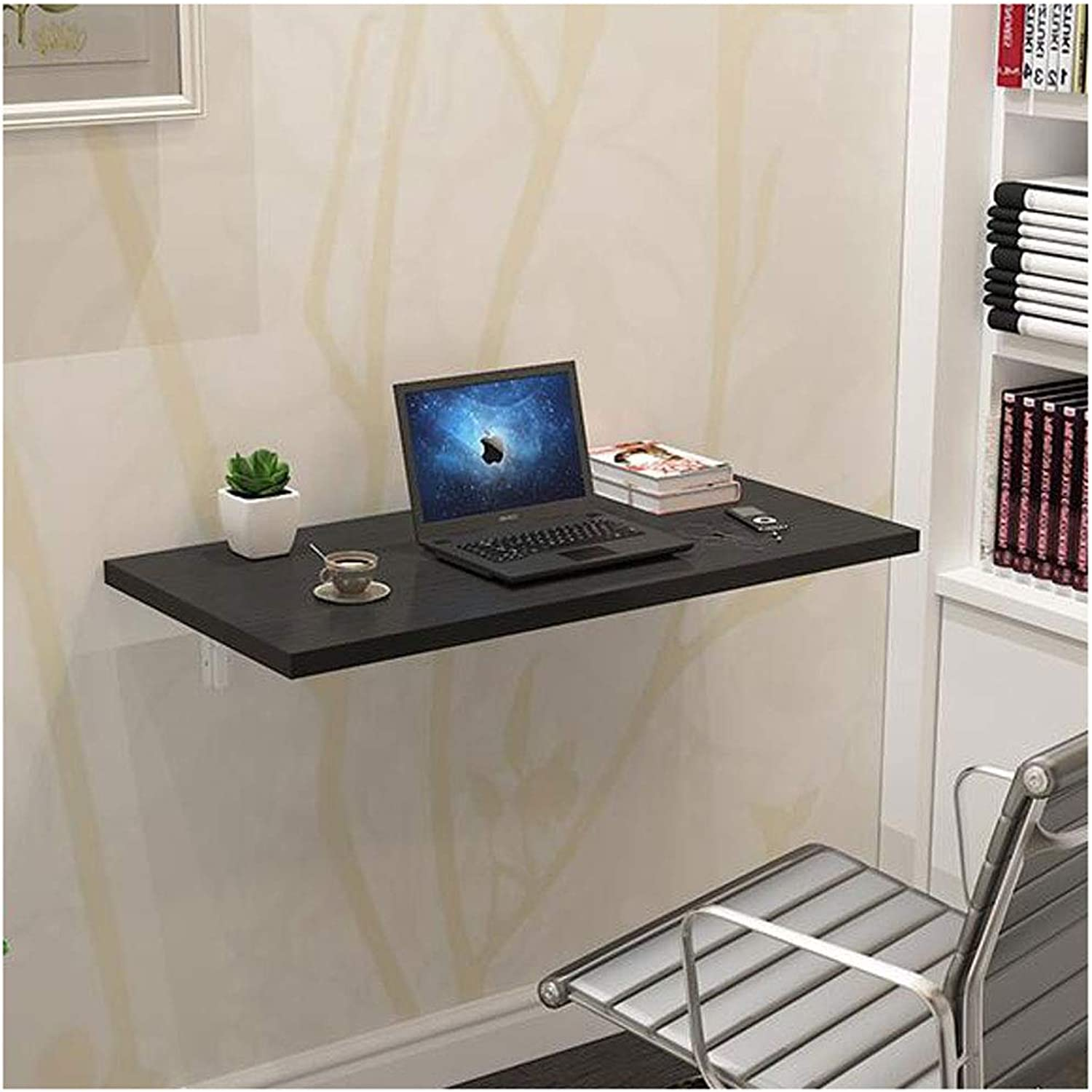 Folding Wall-Mounted Drop Leaf Table Dining Table Space Saver Fold Congreenible Desk Wood Wall Table Modern (color   Black, Size   50  30cm)