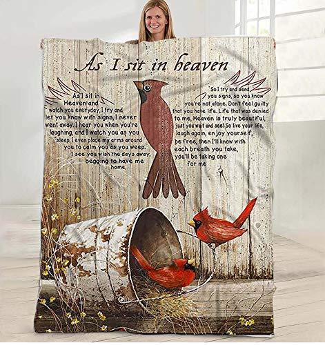 Inspirational to My Daughter Blanket,Letter Mom Blanket As I Sit in Heaven Cardinal Gift Blanket Happy Cozy Plush Fleece Blanket - 60x80