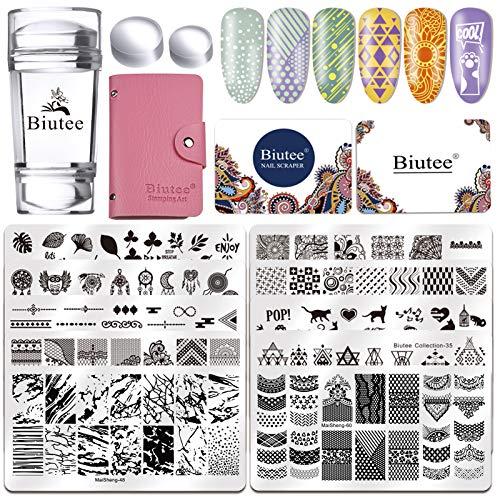 Biutee Kit per Unghie,10pcs Stamping Nail Art in Acciaio Inossidabile Mandala/Geometrico