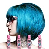 Crazy Colour - Renbow Tinta per capelli semi-permanente, Blu Chewingum No.62 (100ml) Scatola da 4