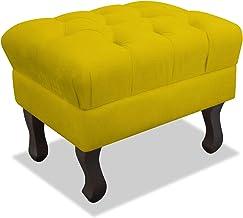 Pufe Puff Puf Decorativo Retrô Luis XV Strass Quadrado Suede Amarelo Sala de Estar Quarto - AM Decor