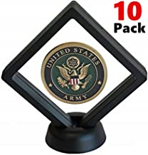 Coin Display Stands, 10 Pack 3D Floating Frame Display Holder Box with Stand Diamond Square for AA Medallion Challenge Coin Chip Jewelry Decorative - White+Black