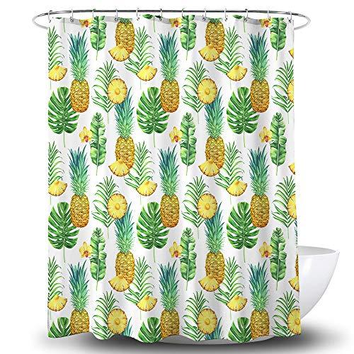 BECAN Ananas-Duschvorhang tropische Blätter & Blumen aus Polyester-Stoff, wasserdichte Schicht verdickter Duschvorhang, 183 x 183 cm, grün-gelb