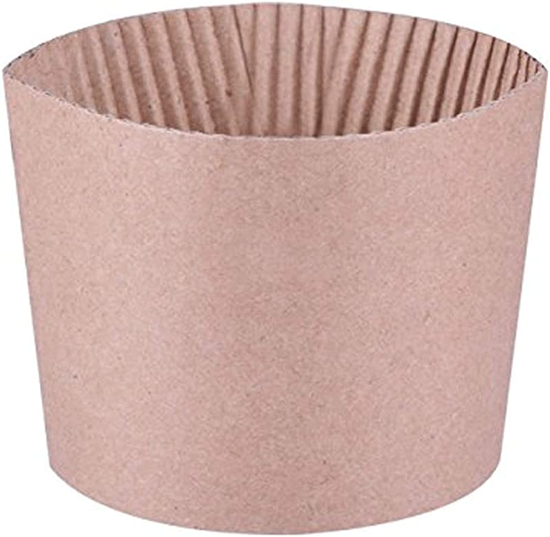 Luckypack 500 Piece Cup Sleeve Corrugated Jacket Cafe Drink Disposable Paper Coffee Cup Sleeves Reusable Holder Cardboard For Hot Drinks 12 Oz 16 Oz 20 Oz